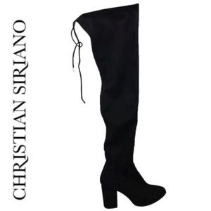 Christian Siriano Black Faux Suede Over Knee Boots